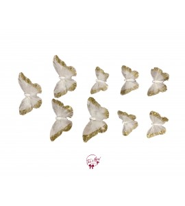 Butterfly: Cream and Feather Butterfly Set of 9