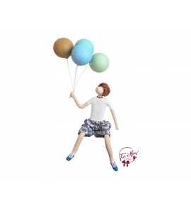 Boy (seated) Holding Balloons