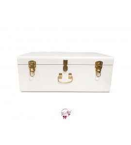 Trunk: White and Gold Metal Trunk (Large)