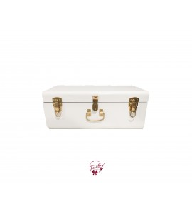 Trunk: White and Gold Metal Trunk (Medium)