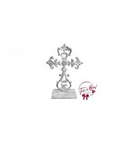 Cross: White Rustic Metal Cross