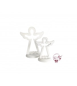 White Distressed Pair of Angels Keyhole Silhouettes
