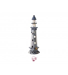 Lighthouse: White and Navy Blue Lighthouse