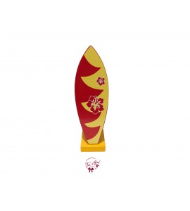 Surfboard: Red With Floral Design Surfboard  Silhouette