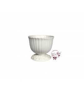 White: White (Small) Footed Bowl With Floral Design