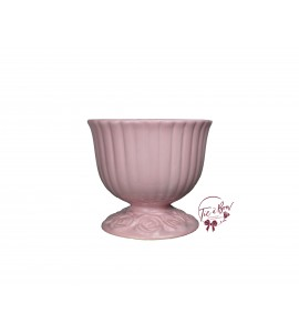 Pink: Rouge Pink (Large) Footed Bowl With Floral Design