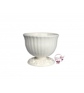 White: White (Large) Footed Bowl With Floral Design