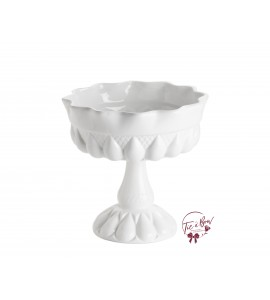 White: White Footed Bowl With Large Teardrop Design
