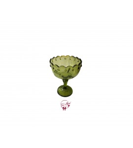 Green: Avocado Green Vintage Footed Bowl With Teardrop Design