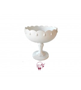 White: White Vintage Footed Bowl With Large Teardrop Design