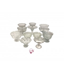 Clear: Clear Mixed and Matched Footed Bowl Set of 12