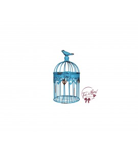 Bird Cage: Distressed Aqua Blue with Bird on Top