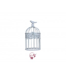 Bird Cage: Distressed White with Bird on Top