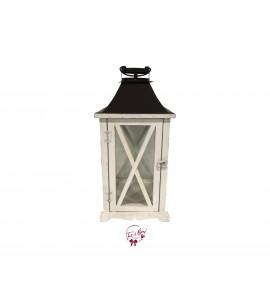 Lantern - White Wash Glass Lantern with Brown Top