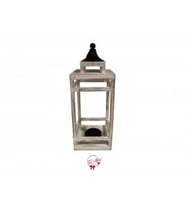 Lantern - White Wash Lantern with Black Top