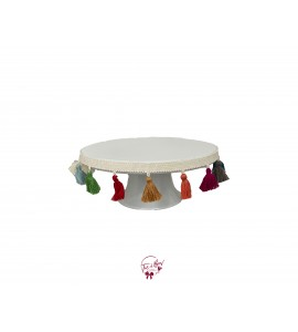 """White With Tassel Details Cake Stand: 10""""W x 4""""H"""