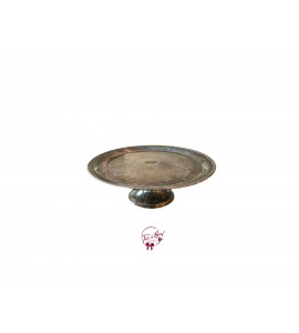 Silver Tarnished Cake Stand: 12 Inches Wide x 4.5 Inches Tall
