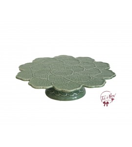 Green: Sage Green Leaves Design Vintage Cake Stand: 13 Inches Wide x 3 Inches Tall