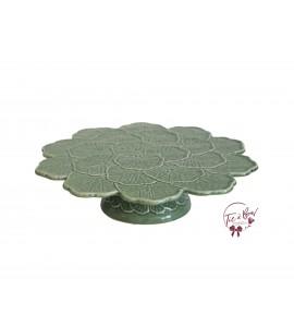 "Green: Sage Green Leaves Design Vintage Cake Stand: 13""W x 3""H"