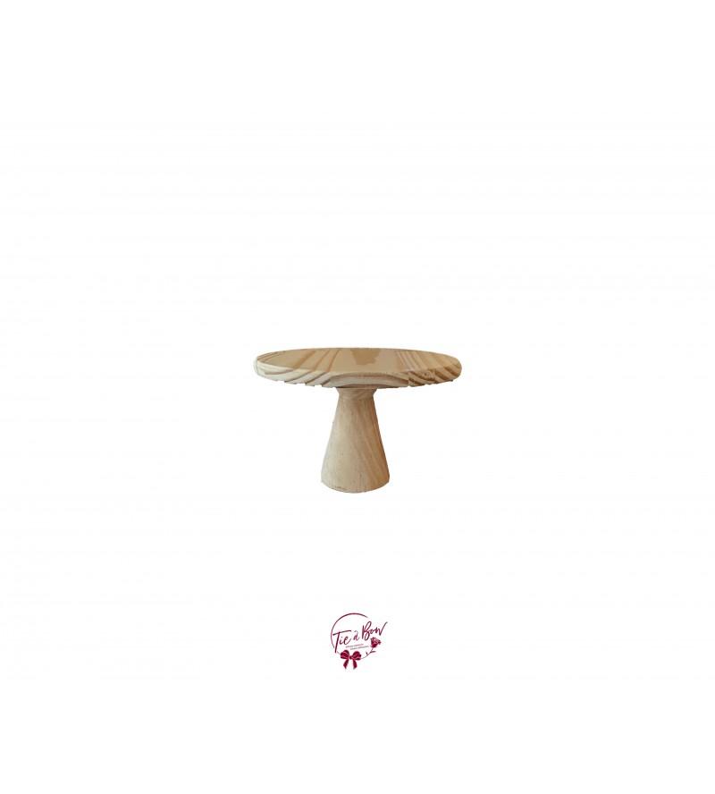 "Wood: Light Wood Hourglass Cake Stand (Short): 8""W x 5""H"