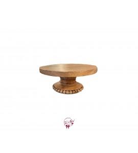 "Wood Beaded Cake Stand: 8.25""W x 4""H"