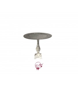 Galvanized: Galvanized Cake Stand With Rustic Pedestal:  9.5 Inches Wide x  12.5 Inches Tall