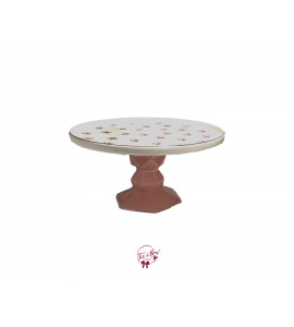 Pink Base With Pink Flower Pattern  Cake Stand: 10 Inches Wide x 5 Inches Tall