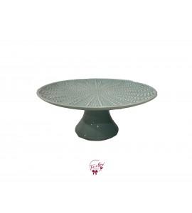 "Green: Sea Foam Green with Starfish Design Cake Stand (Large): 12""W x 5""H"