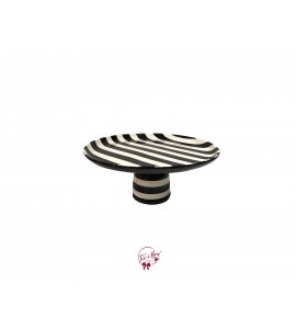 Black and White Striped Cake Stand: 9.5 Inches Wide x 4 Inches Tall