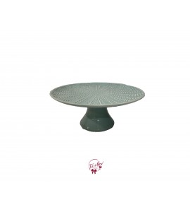 Green: Seafoam Green With Starfish Design Cake Stand: 9.75 Inches Wide x 5 Inches Tall