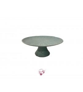 "Green: Sea Foam Green With Starfish Design Cake Stand (Medium): 9.75""W x 5""H"