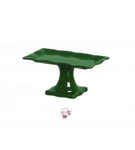 Green: Forest Green Ruffled Edge Rectangular Cake Stand