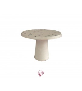 """Concrete With Pink, Lavender and Mint Green Accents Cake Stand: 9.5""""W x 7""""H"""