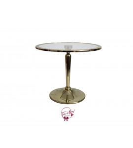 Gold Cake Stand  With Glass Plate: 12 Inches Wide x 10 Inches
