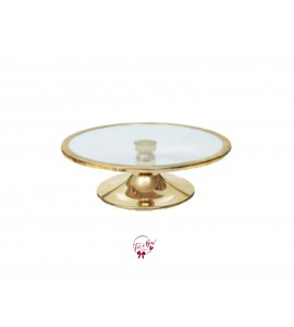 Gold Cake Stand  With Glass Plate: 12 Inches Wide x 3.5 Inches Tall