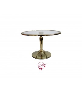 Gold Cake Stand  With Glass Plate: 12 Inches Wide x 7.5 Inches