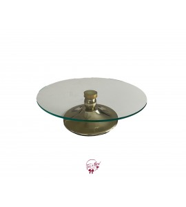 """Gold Cake Stand With Glass Plate (Short): 12""""W x 3.5""""H"""