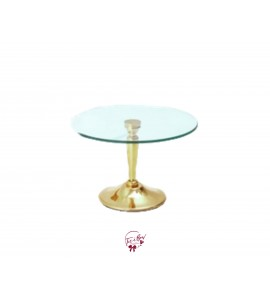 """Gold Cake Stand With Glass Plate (Medium): 12""""W x 7.5""""H"""