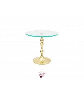 """Gold Provence Cake Stand With Glass Plate (Medium): 12""""W x 8""""H"""