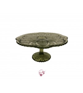 Green: Avocado Green Cake Stand: 10 Inches Wide x 5 Inches Tall