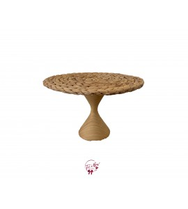 Hyacinth Cake Stand with Wood Base: 12 Inches Wide x 7.5 Inches Tall