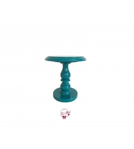 Blue: Turquoise Lacquered Cake Stand:  7 Inches Wide x  8.5 Inches Tall