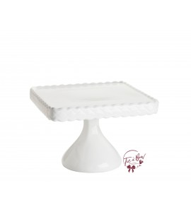 White Cake Stand : 10 Inches Wide  x 6.25 Inches Tall Square Scalloped White Cake Stand