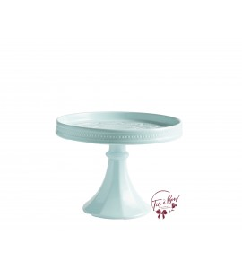 Blue: Turquoise (Light) Rimmed Edges Cake Stand: 8.25 Inches Wide x 7 Inches Tall