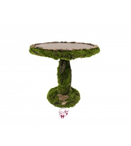 Rustic: Moss and Wood Cake Stand: 11.75 Inches Wide x 11.5 Inches Tall