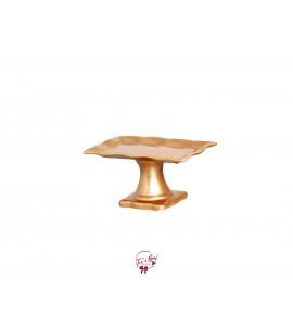 Gold Ruffled Edge Silva Rectangular Cake Stand