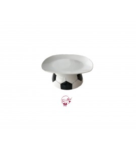 White: White Soccer Ball Cake Stand: 7.5 Inches Wide x 3.5 Inches Tall