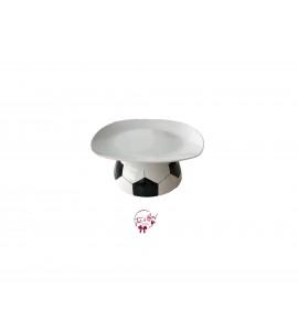 "White: White Soccer Ball Cake Stand: 7.5""W x 3.5""H"