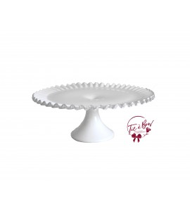 White Ruffled Edge Vintage Cake Stand: 12.5 Inches Wide x 5 Inches Tall