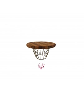 Wood: Wooden Plate with Golden Wire Base Cake Stand: 10 Inches Round x 9 Inches Tall